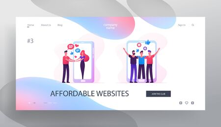 Web Dating Concept Website Landing Page, People Meet in Internet, Man Meeting Woman Going Out of Huge Smartphone Screen, Men Hugging, Friendship, Web Page. Cartoon Flat Vector Illustration, Banner