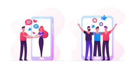 Web Dating Concept with People Meeting in Internet, Man Holding Hands Woman Going Out of Huge Smartphone Screen, Male Characters Hugging, Friendship, Human Relations. Cartoon Flat Vector Illustration  イラスト・ベクター素材