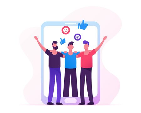 People Meeting in Internet, Men Holding Hands at Huge Smartphone Screen, Male Characters Hugging, Friendship, Human Relations, Web Dating, Social Media App Concept. Cartoon Flat Vector Illustration