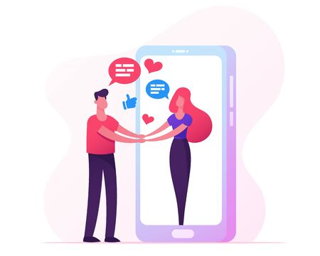 Web Dating, Human Relations Concept. Young People Meeting in Internet, Man Holding Woman Hand Going Out of Huge Smartphone Screen, Characters Communication, Friendship Cartoon Flat Vector Illustration