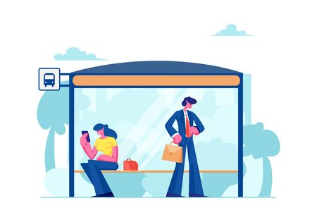 People Stand on Bus Station. Woman Sitting on Bench Reading Messages on Smartphone, Businessman Watching on Watches, Citizen Characters Waiting Public City Transport Cartoon Flat Vector Illustration