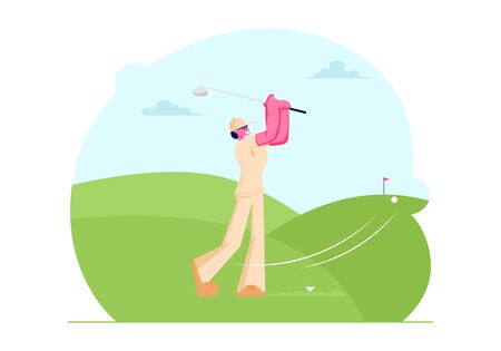 Young Woman in Uniform and Cap Playing Golf on Course with Green Grass and Stick Flag, Girl Hitting Ball to Hole, Sport Game, Tournament, Summer Spare Time, Relax. Cartoon Flat Vector Illustration Illustration