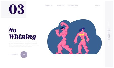 Bodybuilding Competition Website Landing Page, Bodybuilder Man and Woman Posing on Stage Performing Sportive Healthy Athletic Body, Scene Presentation Web Page. Cartoon Flat Vector Illustration Banner
