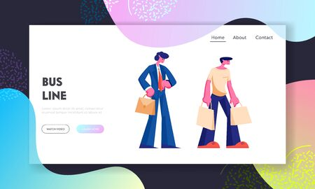 People Stand on Bus Station Website Landing Page, Businessman Watching on Watches, Man with Shopping Bags, City Transport, Citizen Transportation Web Page. Cartoon Flat Vector Illustration, Banner Illustration