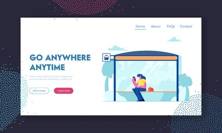 Bus Station Website Landing Page, Woman Sitting on Bus Stop Bench Reading Messages on Smartphone, Citizen Character Waiting Public City Transport Web Page. Cartoon Flat Vector Illustration, Banner