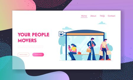 City Transport Website Landing Page, People Stand on Bus Station. Woman Sitting on Bench, Businessman Watching on Watches, Man with Bags, Citizen Web Page. Cartoon Flat Vector Illustration, Banner