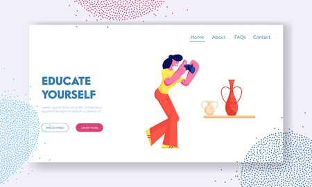 Hobby, Activity Website Landing Page, Tourist Girl Visiting Museum of Ancient History, Watching and Photographing Old Vase, Education, Tourism, Web Page. Cartoon Flat Vector Illustration, Banner