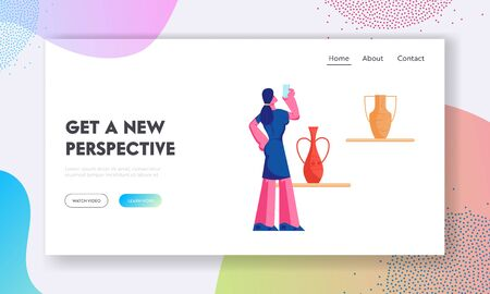 Prehistory Exhibition Website Landing Page, Tourist Woman Visiting Ancient History Museum, Watching and Shooting on Smartphone Old Vases, Education, Web Page. Cartoon Flat Vector Illustration, Banner