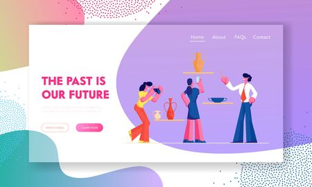 Group of Tourists Visiting Ancient History Museum Website Landing Page, People Photographing Old Vases, Guide Tell Lecture, Education, Tourism, Web Page. Cartoon Flat Vector Illustration, Banner