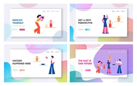 Tourists Visiting Museum of Ancient History Website Landing Page Set, People Listen Guide, Watching and Photographing Old Vases, Education, Tourism, Web Page. Cartoon Flat Vector Illustration, Banner Иллюстрация