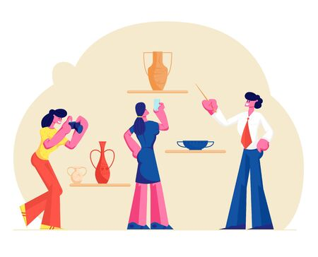Group of Tourists Visiting Museum of Ancient History Watching and Photographing Old Vases. Guide Man Tell Lecture with Pointer. Education, Tourism Hobby Activity. Cartoon Flat Vector Illustration