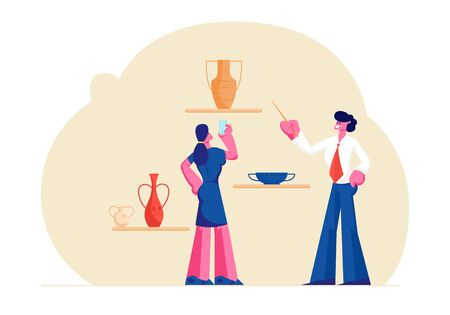 Tourist Woman Visiting Ancient History Museum, Watching and Shooting on Smartphone Old Vases, Guide Man Tell Lecture with Pointer. Education, Tourism, Hobby, Activity. Cartoon Flat Vector Illustration Illustration
