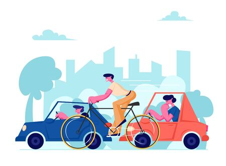 City Life Traffic. People Driving Different Transport as Cars and Bicycle on Speedway. Male Characters Riding Cycle and Automobiles on Urban Cityscape Background. Cartoon Flat Vector Illustration