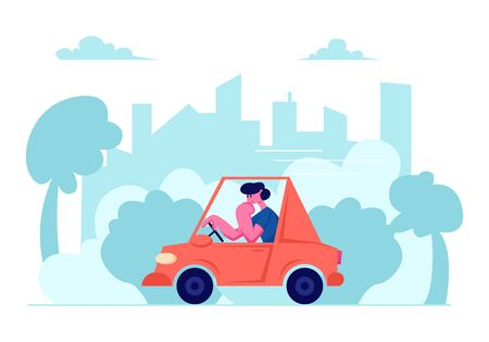 City Traffic, Man Driving Car on Urban Cityscape Background, Transport on Speedway, Character Dweller Riding Red Sedan Automobile, Citizen Life, Rout, Transportation Cartoon Flat Vector Illustration