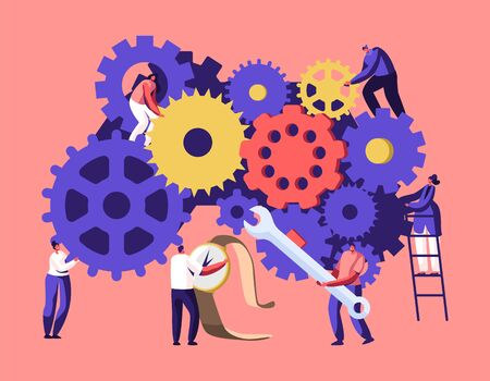 Tiny Men and Women Characters on Ladders with Repair Tools and Instruments Fixing Broken Clocks and Watches. Huge Mechanism Made of Gears and Cogwheels, Time Concept. Cartoon Flat Vector Illustration