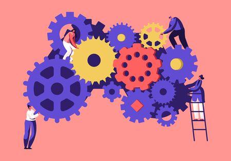 Gestión del tiempo, concepto de trabajo en equipo. Pequeños empresarios hombres y mujeres que generan ideas con enormes engranajes y ruedas dentadas de pie en escaleras, pensamiento alternativo, dibujos animados ilustración vectorial