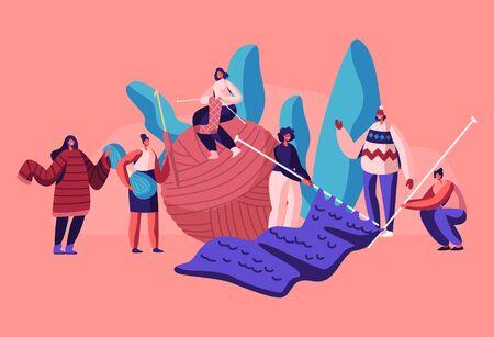 Winzige weibliche Charaktere Handwerk Hobby-Konzept. Frauen-Strickwaren, Mädchen mit riesigen Stricknadeln und Clew stricken warme Kleidung als Pullover, Schals für Winter-Kälte-Zeit-Karikatur-flache Vektor-Illustration
