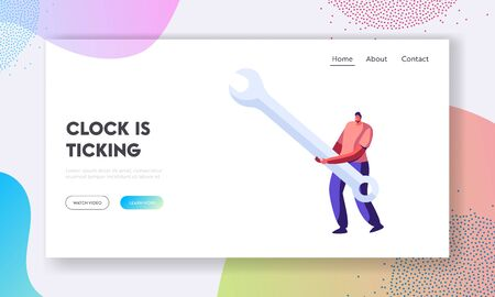 Technical Support Service Website Landing Page, Tiny Man Characters Holding Huge Wrench, Character with Repair Instrument for Fixing Broken Things Web Page. Cartoon Flat Vector Illustration, Banner