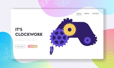 Clock Mechanism Website Landing Page, Tiny Woman Character Standing at Huge Gears and Cogwheels, Time Management, Idea Development, Creativity Concept Web Page. Cartoon Flat Vector Illustration Banner Stock Vector - 128443540