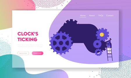 Time Management, Idea Development Concept Website Landing Page, Tiny Woman Character Standing on Ladder at Huge Gears and Cogwheels Clock Mechanism Web Page. Cartoon Flat Vector Illustration Banner Imagens - 128443541