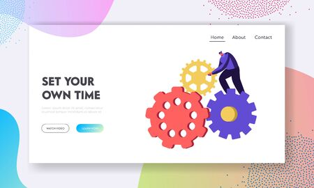Generating Ideas Website Landing Page, Tiny Man Character Turning Huge Gears and Cogwheels Mechanism of Clocks or Watch, Timing, Working Process Web Page, Cartoon Flat Vector Illustration, Banner