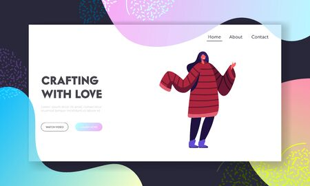 Needlework Hand Made Hobby Website Landing Page. Young Woman Wearing Handcrafted Jumper with Long Sleeves for Cold Winter or Autumn. Hand Made Hobby Web Page Banner. Cartoon Flat Vector Illustration