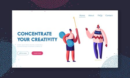 Handcraft Knitting Hobby Website Landing Page. Woman Holding Thread and Crochet Hook for Needlework. Girl Wearing Handcrafted Jumper with Pattern Web Page Banner. Cartoon Flat Vector Illustration
