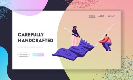 Women Enjoying Knitwork Hobby and Leisure Fun Website Landing Page. Tiny Female Characters Handcrafting with Huge Knitting Needles Making Warm Cloth Web Page Banner. Cartoon Flat Vector Illustration