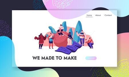 Handcraft Hobby Website Landing Page. Tiny Female Characters Knitwork with Huge Knitting Needles and Clew. Creating Warm Clothes for Winter Cold Time Web Page Banner. Cartoon Flat Vector Illustration
