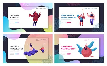 Knitting Hobby Website Landing Page Set. Tiny Female Characters Doing Knitwork Activity with Huge Needles and Clew. Girls with Knit Warm Clothes Web Page Banner. Cartoon Flat Vector Illustration