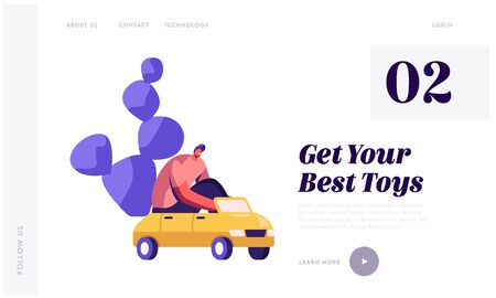 Kids Toys Website Landing Page. Man Driving Little Kids Car for Fun Adult Playing Child Game Spending Time Fooling on Playground, Recreation Leisure Web Page Banner. Cartoon Flat Vector Illustration