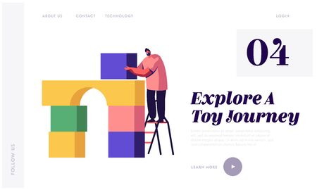 Active Game Website Landing Page. Man Building House of Colorful Plastic Constructor Blocks Standing on Ladder. Male Character Playing with Kids Toys Web Page Banner. Cartoon Flat Vector Illustration