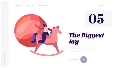 Children Toys Website Landing Page. Woman Riding Wooden Horse in Playing Room Having Recreation and Leisure on Playground Spending Time, Childhood Web Page Banner. Cartoon Flat Vector Illustration