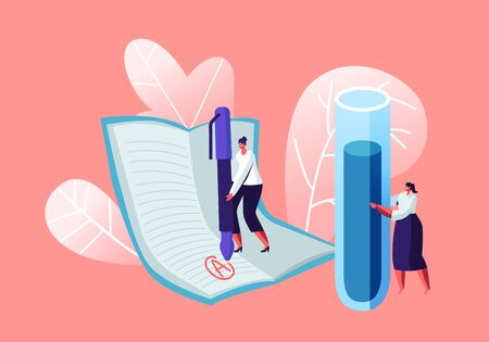 Young Woman Teacher of Chemistry Holding Huge Flask for Class Experiences on Lesson. Tutor Put Excellent Mark on Notebook Page. Back to School Studying Education. Cartoon Flat Vector Illustration