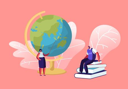 Female Teacher Stand with Pointer at Globe in Classroom. Male Tutor Sitting on Pile of Books in Class Room Conducting Lesson. Education Process, Back to School Concept Cartoon Flat Vector Illustration