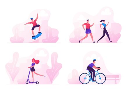 Male and Female Characters Sports Activity. Teenager Making Tricks on Skateboard, People Jogging in Park. Woman Riding Scooter Man Driving Bicycle, Healthy Lifestyle. Cartoon Flat Vector Illustration