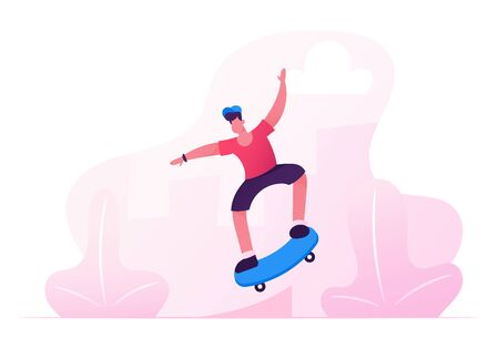 Young Boy in Modern Clothing and Cap Jumping on Skateboard. Skateboarder Male Character Outdoors Activity. Skateboarding People Making Stunts on Board in Skatepark. Cartoon Flat Vector Illustration