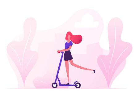 Young Stylish Woman Character Riding Scooter on City Park Background. Active Girl Enjoying Open Air Ride and Healthy Lifestyle Using Eco Transportation for Moving. Cartoon Flat Vector Illustration