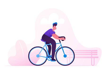 Uomo ciclista in sella alla bici all'aperto in giornata estiva sullo sfondo del parco cittadino. Vita sportiva attiva in bicicletta e attività di stile di vita sano, trasporto di ecologia in città, illustrazione di vettore piatto del fumetto del ciclista Vettoriali