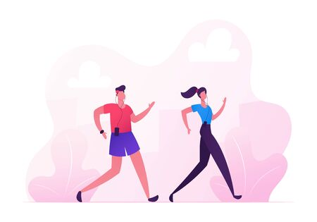 Happy Couple Man and Woman in Sports Wear Running City Marathon on Nature Landscape Background. Summertime Outdoor Sport Activity. Jogging and Sport Healthy Lifestyle. Cartoon Flat Vector Illustration Illustration
