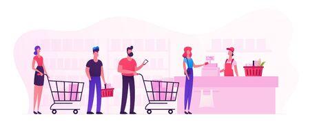 Los clientes hacen fila en el turno de la tienda de comestibles o el supermercado con los productos en el carrito de la compra y colocan las compras en el mostrador del cajero para pagar. Compras, venta consumismo, cola en la tienda de dibujos animados ilustración vectorial plana Ilustración de vector