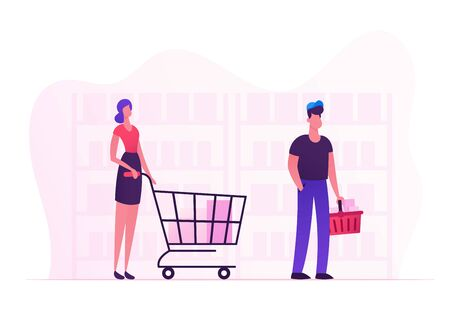 Male and Female Characters with Shopping Baskets Standing in Line at Shop. Customers with Products in Queue Moving to Cashier Desk at Grocery Store or Supermarket. Cartoon Flat Vector Illustration