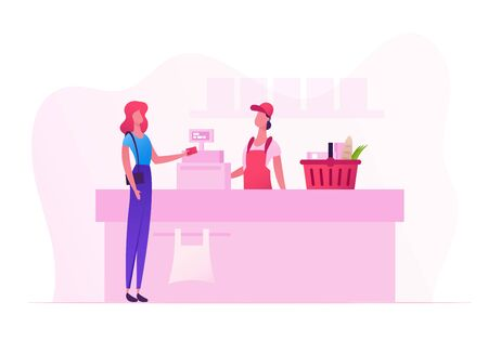 Female Customer Character with Goods in Shopping Basket Stand in Supermarket or Grocery Queue at Cashier Desk with Seller Paying for Purchases. Sale, Consumerism Cartoon Flat Vector Illustration
