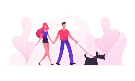 Loving Couple Walking with Dog in City Park in Sunny Summer Weather. Young Family Playing with Pet Outdoors Having Leisure. Sparetime Love Human and Animal Relations. Cartoon Flat Vector Illustration