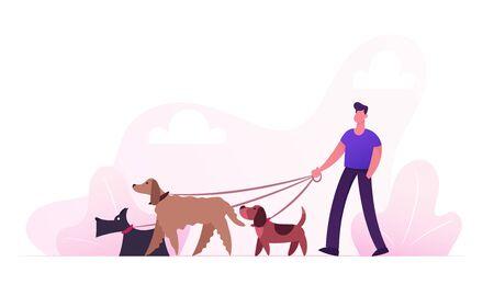 Fokker mannelijk karakter wandelen met honden Team ontspannen in Park. Vrije tijd Communicatie Liefde Verzorging van dieren Outdoor Activiteit. Mensen tijd doorbrengen met huisdieren buitenshuis Cartoon platte vectorillustratie Vector Illustratie
