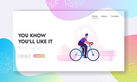 Bicycle Eco Transport Website Landing Page. Man Cyclist Riding Bike Outdoors in City Park. Active Sport Life and Healthy Lifestyle Activity. Bike Rider Web Page Banner Cartoon Flat Vector Illustration Ilustrace