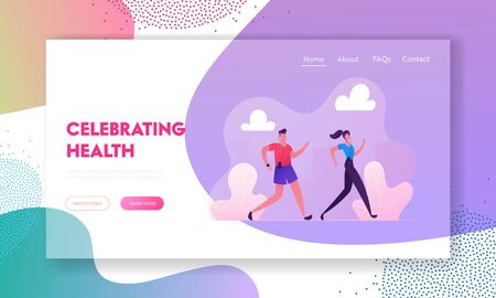Happy Couple Running Website Landing Page. City Marathon on Nature Background. Summertime Outdoor Sport Activity Jogging and Sport Healthy Lifestyle Web Page Banner. Cartoon Flat Vector Illustration