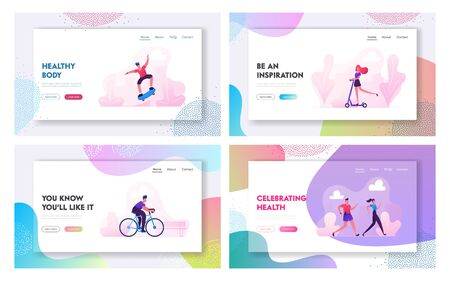 Sports Activity Website Landing Page Set. Man Driving Bicycle, Teen Skateboard Stunts, People Running in Park, Woman Riding Scooter Healthy Lifestyle Web Page Banner. Cartoon Flat Vector Illustration Illustration