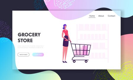 Woman in Grocery Store Website Landing Page. Customer Stand in Supermarket with Goods in Shopping Trolley. Girl Visiting Shop for Products Purchases Web Page Banner. Cartoon Flat Vector Illustration
