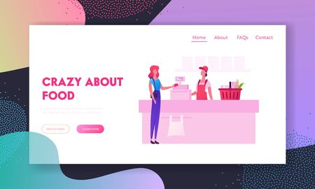 People in Supermarket Website Landing Page. Customer with Goods in Shopping Basket Stand in Grocery at Cashier Desk with Seller Paying for Purchases Web Page Banner. Cartoon Flat Vector Illustration